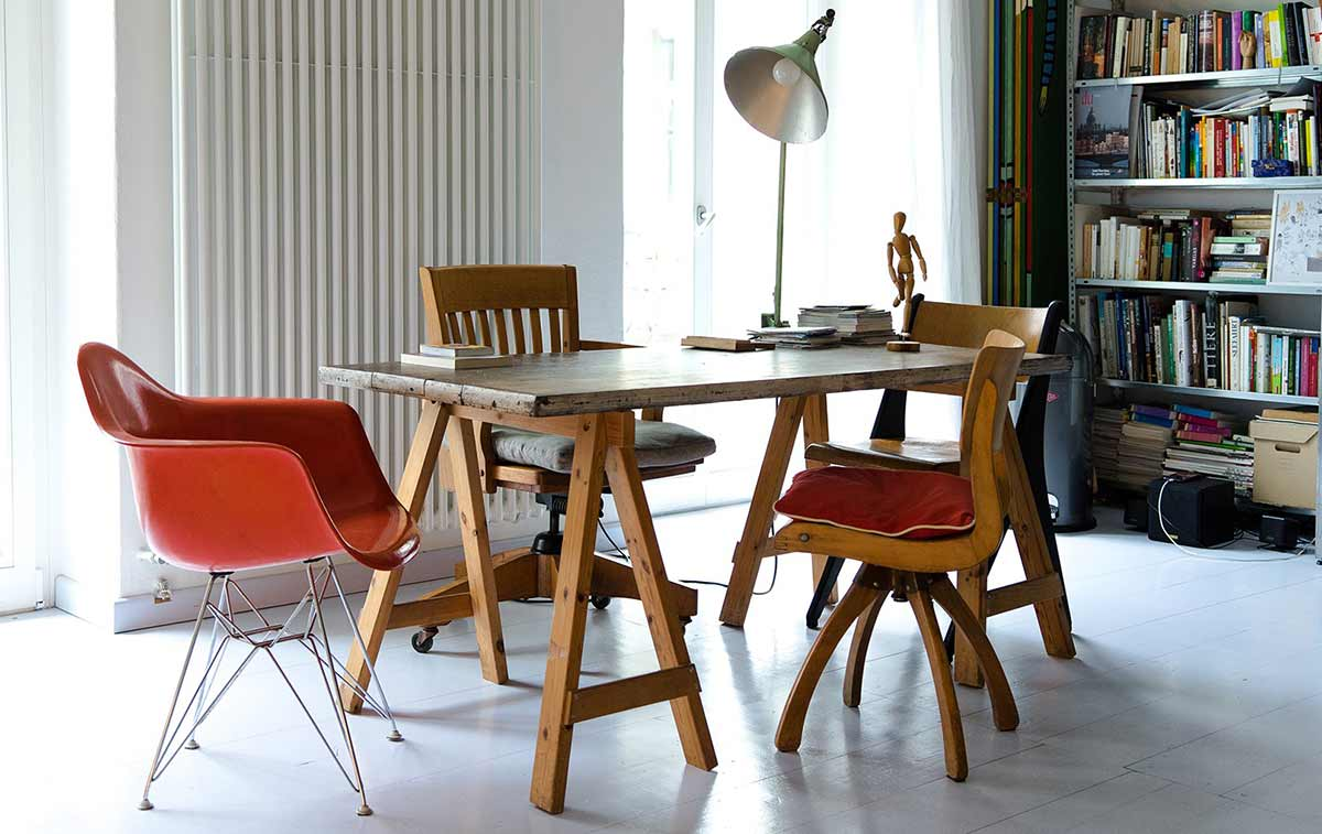 Chairs around a table in an office