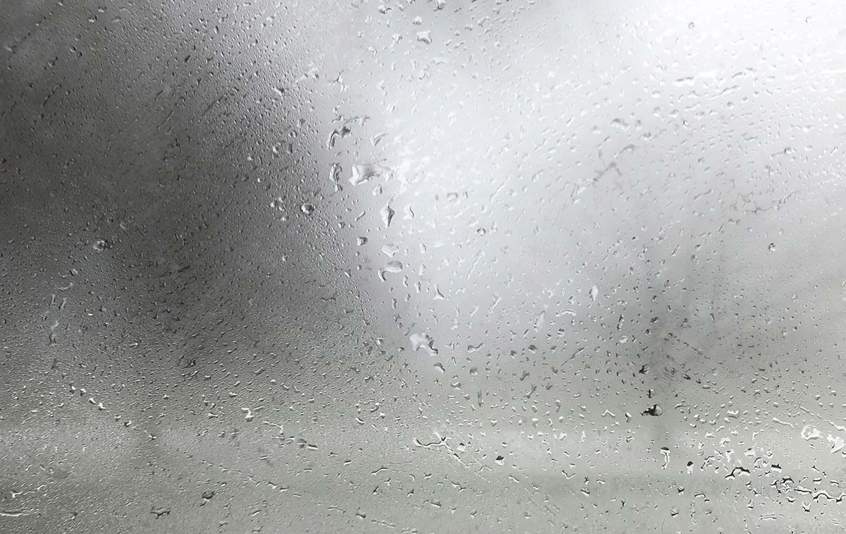 Window condensation caused by humidity