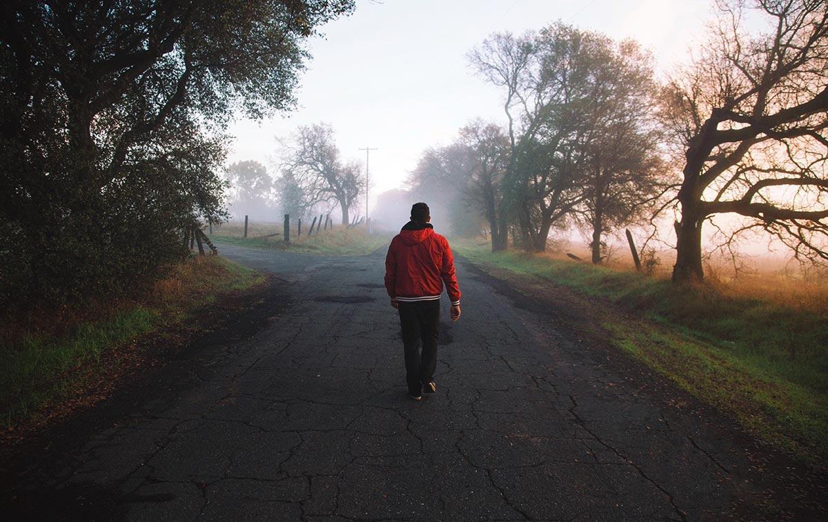 A man at a crossroads