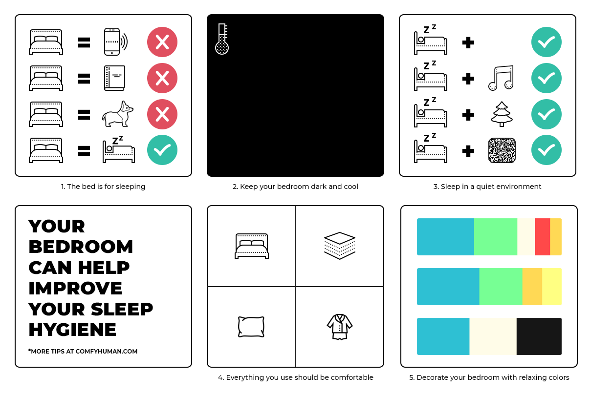 Infographic about how your bedroom can help you improve your sleep hygiene