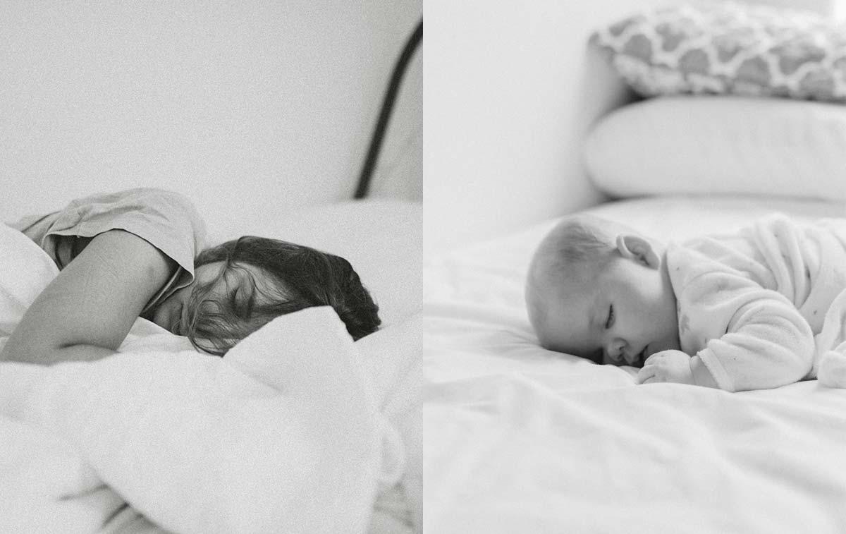 Woman and baby sleeping