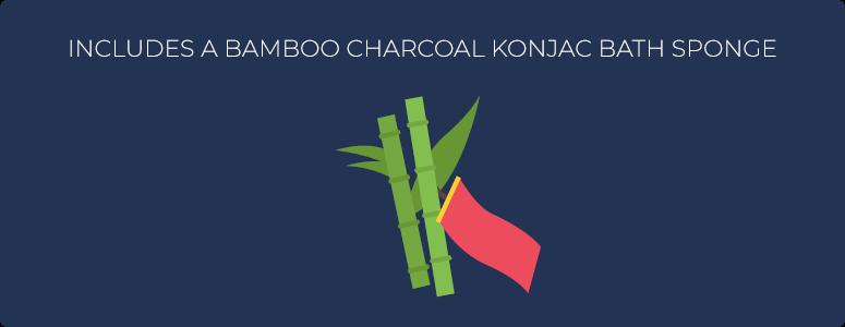 Includes a bamboo charcoal konjac bath sponge