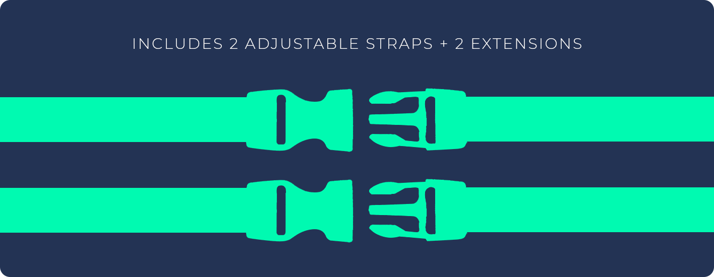 Includes 2 adjustable straps